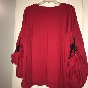 Over Sized Red Asos Sweater with Tie Rope Sleeves